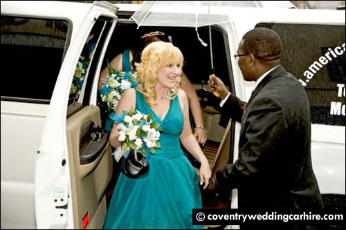 Bride alighting vehicle